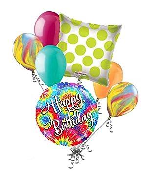 7 pc Tie Dye Happy Birthday Balloon Bouquet Hippie 60 s 70 s Sprial Disco Decor