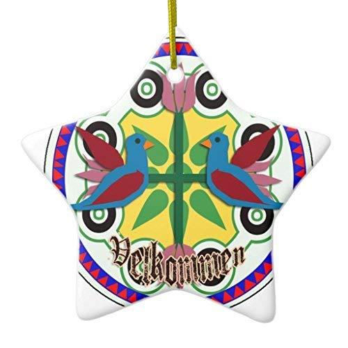 GFGKKGJFF Christmas Ornaments, Double Bird Hex Sign Star Ceramic Christmas Ornaments for Christmas Tree Decoration, Keepsake,New Couples