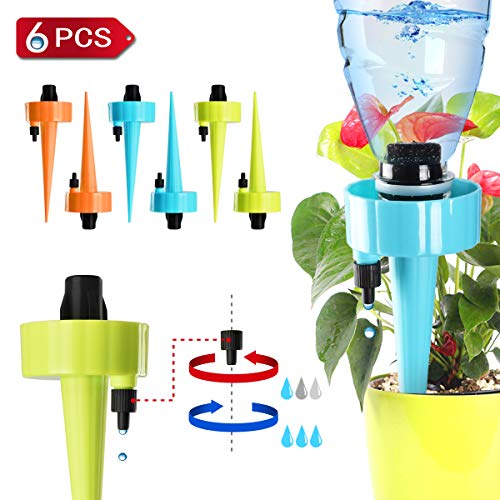 Upgraded Plant Waterer, Self Watering Spikes System, Plant Watering Devices With Slow Release Control Valve Switch, Automatic Vacation Drip Irrigation Watering Stakes For Indoor & Outdoor Plants