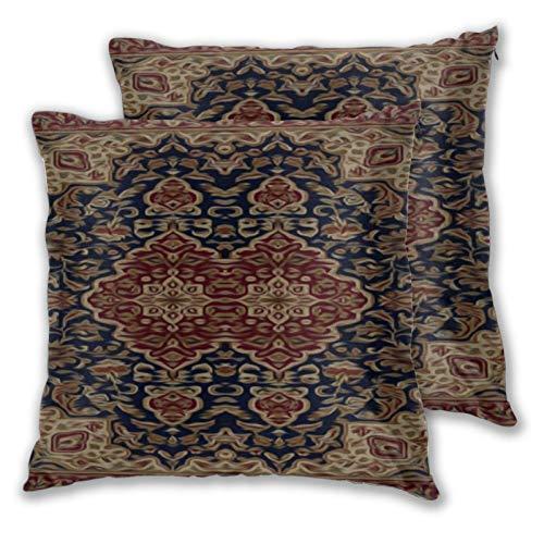 Jack16 Fundas de almohada pintadas con tapiz, color burdeos y azul, 45,7 x 45,7 cm, para decoración navideña, juego de 2 fundas de cojín cuadradas decorativas para sofá, sofá, decoración del hogar