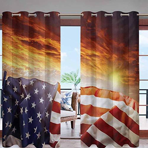 Indoor Outdoor Deck Curtain Windproof, Darkening Window Panel with Grommet Top Flag in Front of Sunset W96 x L108 for Sliding Door/Foyer/Arbor/Lanai