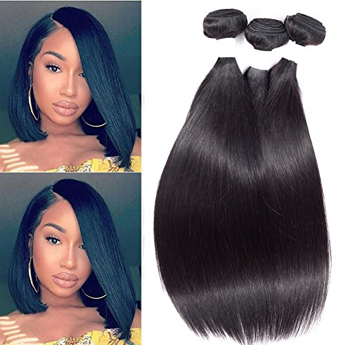 Brazilian Straight Hair Bundles 12 inch Virgin Human Hair Deals Straight Hair Weave Natural Black 8A Unprocessed Remy Hair Extensions By Peenoll