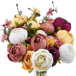 FiveSeasonStuff Vintage Artificial Peonies Silk Flowers and Hydrangeas for Wedding Bridal Home Décor – Beautiful Floral Centerpiece Arrangement Decoration with 2 Bouquets (Country Delightful)