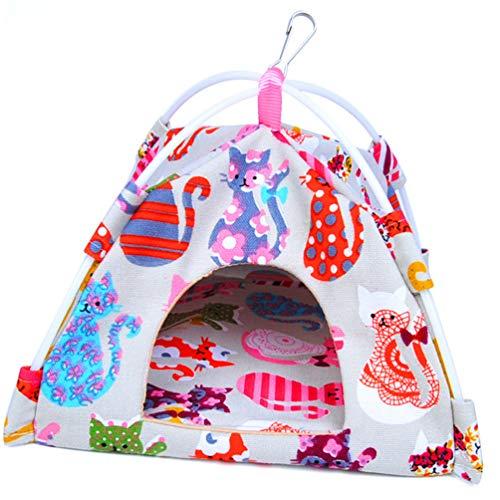 鳥 小型 ベッド 布製 寝床 インコ おしゃれ 鳥用ベッド おやすみ 吊り下げ式 寝床 両面可用 バードテント 小鳥用 鳥の理想的な遊び場 四季通用 (S: (16*16*16cm),猫柄)