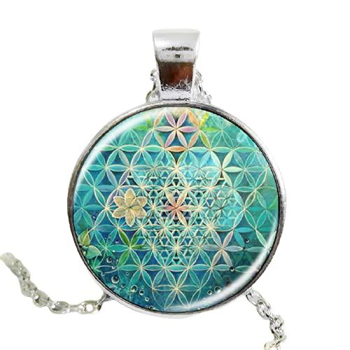2017 flor de la vida arte foto zen colgante collar encantos cristal cabujón collar yoga joyería amuleto de la suerte