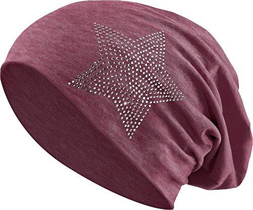 Jersey Baumwolle elastisches Long Slouch Beanie Unisex Herren Damen mit Strass Stern Steinen Mütze Heather in 35 (2) (Heather WineRed)