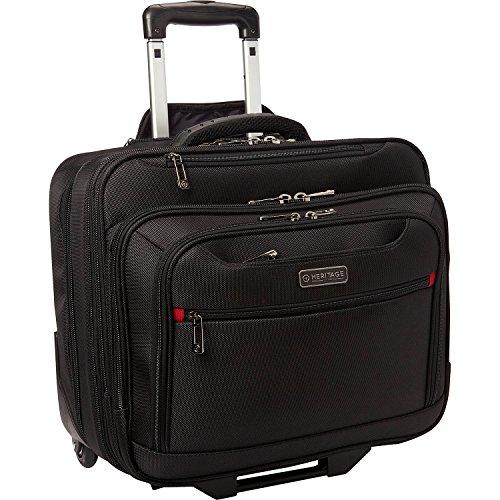 """Heritage Travelware Noble Departure Rolling 17"""" Laptop & Tablet Business Case Wheeled Portfolio Carry-On Overnighter Bag, Black, Laptop"""