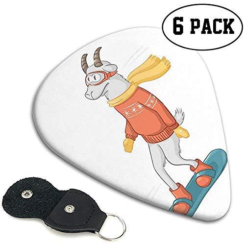 Gitarre Picks 6 Stück, Cartoon Ziege Figur auf einem Snowboard mit Pullover Schal und Schutzbrille in der Wintersaison.96mm