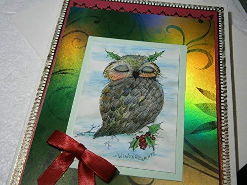 Karte handgemacht Eule mit Ilex im Winterschlaf als 11,5 x 16 cm große hochwertige Klapp Weihnachts-Karte mit Schleife