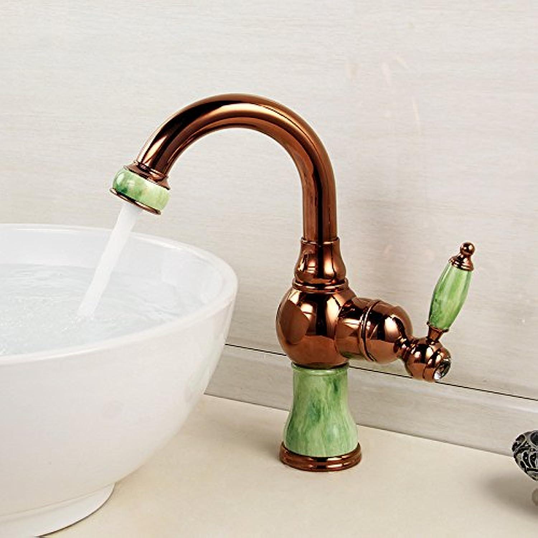 Bijjaladeva Wasserhahn Bad Wasserfall Mischbatterie Waschbecken Waschtisch Armatur für BadDas Waschbecken Hardware Voll Kupfer Küche Wasserhahn Single-Smaragd Mischbatterien