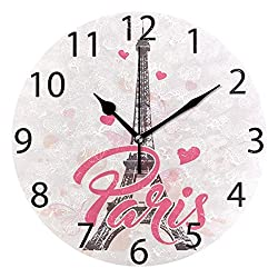 ALAZA Pink Paris with Love Round Acrylic Wall Clock, Silent Non Ticking Oil Painting Home Office School Decorative Clock Art