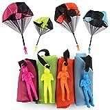Sipobuy Lot de 4 Parachutistes àBalancer àla Main, Set de Parachutes pour Vol Libre, Jouet Créatif Multicolore pour Enfant Adulte - Version Allemande