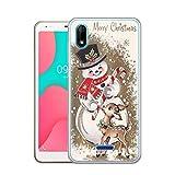 Yoedge für Wiko Y60 Hülle, Silikon Transparent TPU Schutzhülle Handyhülle mit Weihnachten Muster Hülle Stoßfest Rückschale Tasche Weiche Cover für Wiko Y60, Schneemann