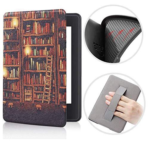 Capa Kindle Paperwhite 10ª geração à prova d'água - Função Liga/Desliga - Fechamento magnético - Silicone com Alça de Leitura- Library