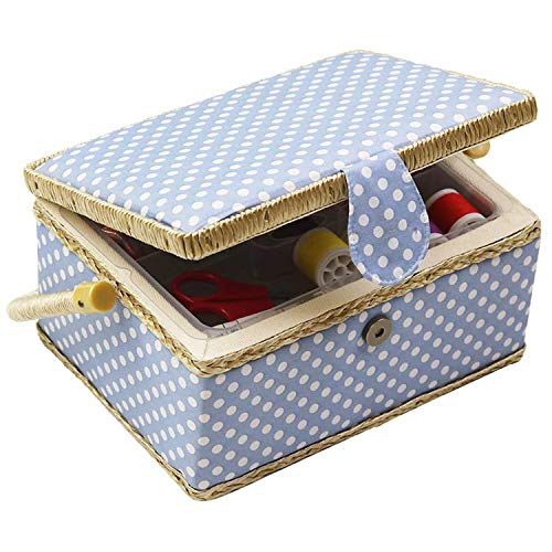 Medium Sewing Basket with Accessories Sewing Organizer Box with Supplies DIY Sewing Kits for Beginner(Blue)