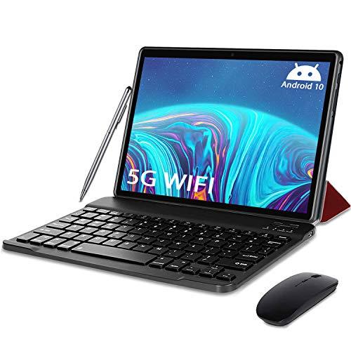 Tablet 10 Pulgadas 5G Android 10 Tableta Ultra-Portátiles 4GB RAM + 64/128GB ROM, Con1.6GHz Core Procesador Núcleos Dual WiFi, Bluetooth con Teclado y Ratón, Certificado Google GMS/OTG/Tpye-C (Rojo)
