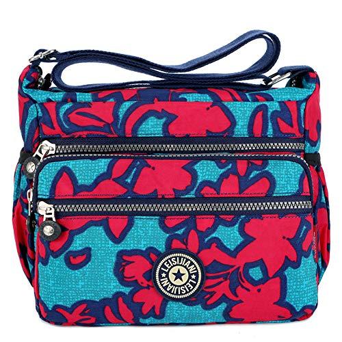 MINGZE Mujer Bolsos de Moda, Impermeable Mochilas Bolsas de Viaje Bolso Bandolera Sport Messenger Bag Bolsos Mano para Escolares Nylon Casual Shopper (Patrón 2)