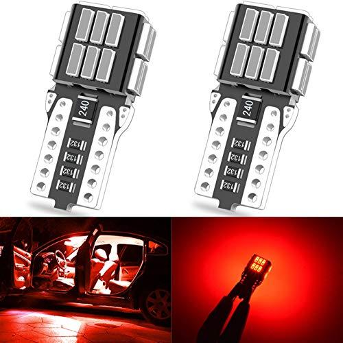 GSDGBDFE 2 unids T10 CANBUS W5W 194 168 LED Bulb Bombilla Interior Luz Ningún Error Bulb Blanco Rojo Rojo Amarillo LED Luz Auto Lámpara 4014 24SMD (Emitting Color : Red)