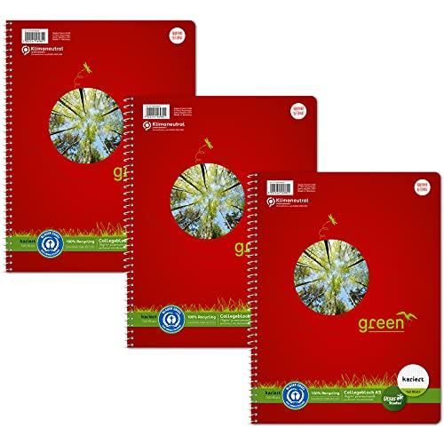 Staufen Green Collegeblock - Cuaderno (DIN A5, cuadriculado de 5 mm, 160 hojas, 4 orificios, papel reciclado blanco de 70 g/m², 3 unidades)