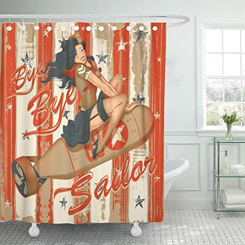 None brand Pin Up Auf Rocket Girl Graphic Marine Offizielle DuschvorhäNge Wasserdichtes Polyestergewebe Mit Haken-B90xh180cm