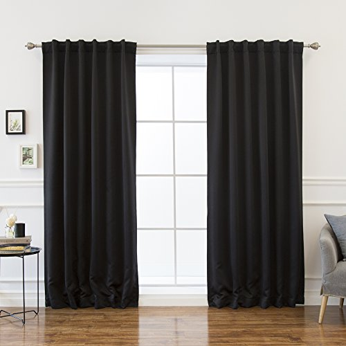 """Best Home Fashion Premium Thermal Insulated Blackout Curtains - Back Tab/Rod Pocket - Black - 52"""" W x 120"""" L - Tie Backs Included (Set of 2 Panels)"""