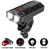 SWEOBYE Lampe Velo LED Puissantes, Eclairage Velo de 1200 Lumens avec Écran à LED et Fonction de Batterie Externe, Lampe VTT LED Velo Etanche