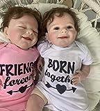 Pinky Reborn Baby Dolls Twin 22 '55 Cm Cuerpo Completo Suave Bebés Reborn realistas Niñas Muñeca recién Nacida Niño y niña dormida Gemelos, Boca magnética