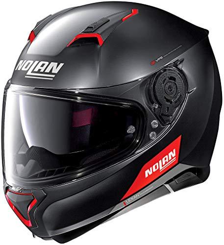Nolan N87 Emblema N-Com Helm Schwarz Matt/Rot M (58)