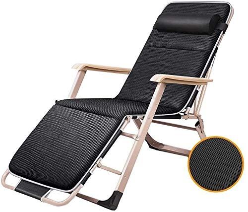 MGE Tumbona Tumbona Patio sillas reclinables, for Heavy Personas de Playa al Aire Libre del césped Silla Que acampa Plegable portátil de la Cubierta Principal Salón con Cojines