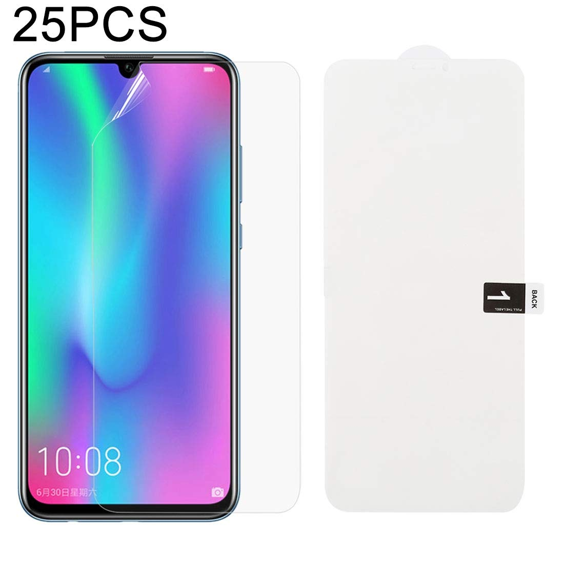 JIANGNIUS Screen Protector 25 PCS Soft Hydrogel Film Full Cover Front Protector with Alcohol Cotton Scratch Card for Galaxy M30