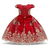 NNJXD Fancy Girls Dress New Year Party Evening Gowns Elegant Princess Dress Ball Gowns Wedding Kids Dresses for Girls Size (130) 5-6 Years Red #2