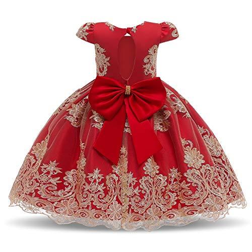 TTYAOVO Robes de Mariée de Filles de Fleur de Bowknot de Demoiselle d'honneur du Parti Robes Taille(140) 7-8 Ans 11 Rouge