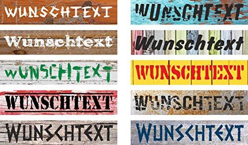 Melis Folienwerkstatt Schild Wunschtext Wunschname – 52x11cm – 10 Designs + 10 Schriften + Bohrlöcher Aufkleber Hartschaum Aluverbund -S00154A