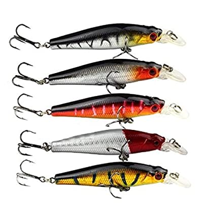 Deanyi 5pcs Bass Fishing Lures Trebles Diving Lure Minnow Bait 8.8g 8cm by Deanyi
