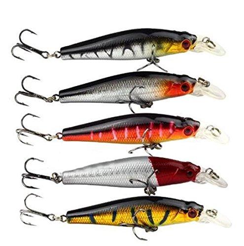 Deanyi Minnow - Esche da pesca, 5 pezzi, 8,8 g, 8 cm