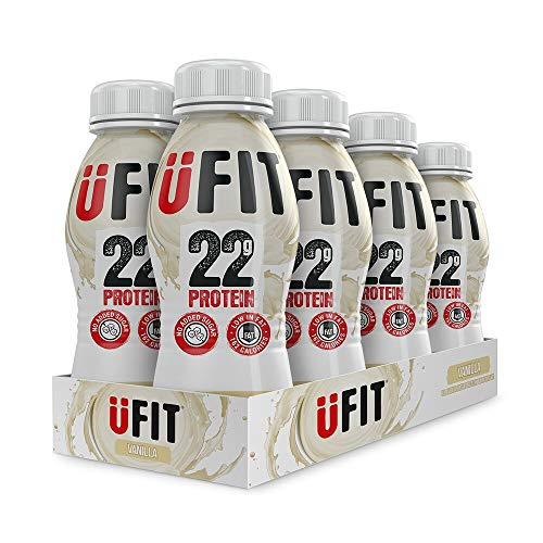 UFIT High 22g Protein Shake, No Added Sugar, Low Fat – Vanilla Flavour Ready To Drink (Pack of 8 x 310ml)