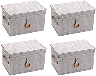 MU Grande boîte de rangement avec couvercle, pliable, boîte de rangement pour garde-robe en tissu, type à tiroir,gris,42 *...