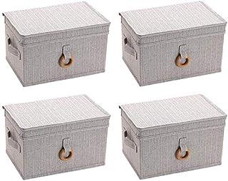 MU Grande boîte de rangement avec couvercle, pliable, en tissu, boîte de rangement pour vêtements, gris, 32 * 22 * 18CM
