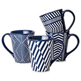 LIFVER 17 Ounces Coffee Mugs with Geometric Art Pattern, Large Porcelain Mug Sets for Coffee, Tea, Cocoa, Nordic-style Mugs, Set of 4, Blue