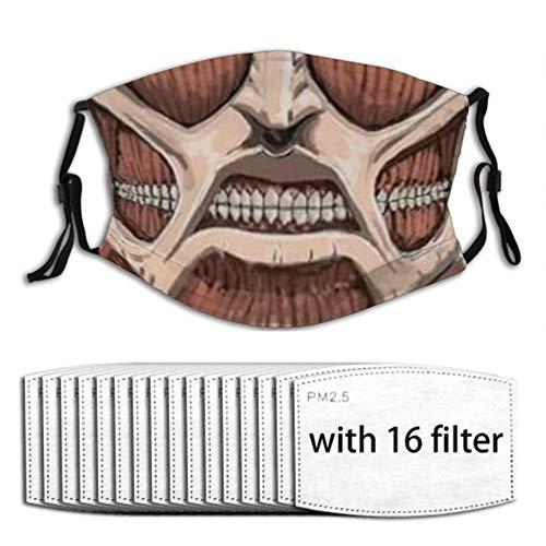 Titan Attack Colossal Half Face Face mask Reusable Washable Bandana Scarf 16pcs Filters Adjustable Earloop Men Women Adults