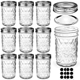 Mason Jars 8 OZ, AIVIKI Glass Regular Mouth Canning Jars with Silver Metal Airtight Lids and Bands for Sealing, Canning, Dry Food, Preserving, Jam, Honey, Jelly, Meal Prep, Overnight Oats, Food Storage, Salads 10 Pack 12 Whiteboard Labels