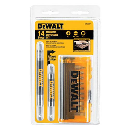 DEWALT Screwdriver Bit Set, Magnetic Drive Guide, 14-Piece (DW2097CS)