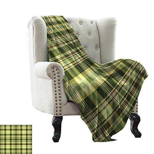 LsWOW Beschwerte Decke für Kinder, olivgrün, Steppmuster, traditionelles schottisches Design, kariert, geometrisch, dunkelgrün, gelb, braun, für Bett und Couch, Sofa, pflegeleicht, 177,8 x 228,6 cm
