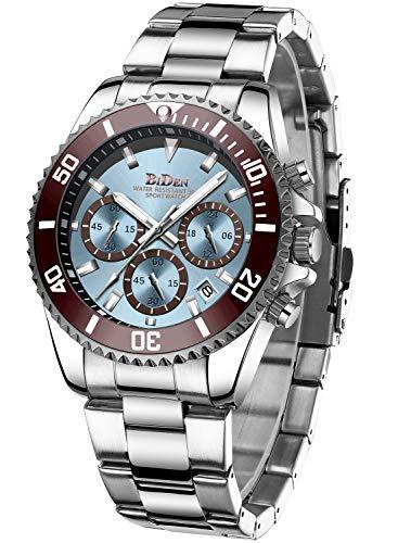 Relojes Hombre Relojes de Pulsera Cronografo Diseñador Impermeable Reloj Hombre de Acero Inoxidable Analogicos Fecha (Azul b)