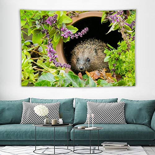 Tapestry Wall Hanging, Cute Garden Hedgehog Pet Animal Tapestries Wall Decor for Dorm Living Room Bedroom 150x100 cm