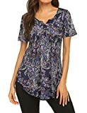 Womens Plus Size Tops Summer Short Sleeve Tunic Shirt Floral Pleated Front Henley Blouse Dressy Top Purple 3XL