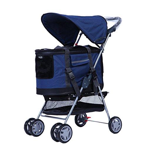 Maxmer 3in1 Hundewagen Hundebuggy Pet Stroller Oxford Gewebe mit Abnehmbarer Transporttasche, Hundeautositz, Regenschutz und Einkaufstasche 4Räder 60 * 44 * 95cm(Rot/Blau/Rosa/Grau)