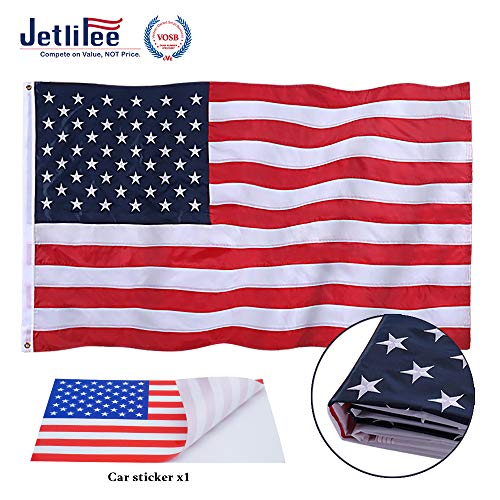 Jetlifee American Flag 3x5 Ft Embroidered Stars, Sewn Stripes, Brass Grommets US Flag.Outdoors Indoors USA Flags Polyester 3 x 5 Foot
