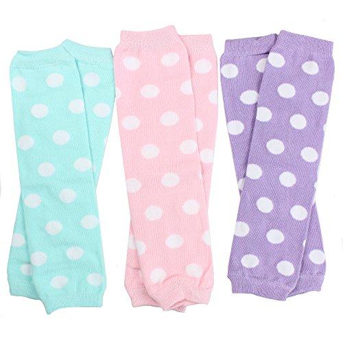 juDanzy 3 Pair Baby Girl Leg Warmers Aqua Polka Dot, Powder Pink Polka Dot, Lavender Polka Dot (Newborn)