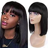 Ur Beautiful Short Bob Straight Human Hair Wigs 100% Brazilian Pelucas De Cabello Humano Liso Short Bob Wigs No Lace Wigs Glueless Machine Made Wigs 12 Inch Natural Black Color